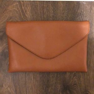 J. Crew brown leather clutch.